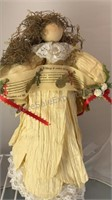 "Vintage Stuffed Bears and Angel Figure 15"" 9"" and"