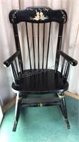 Antique Oak Hill Co Child's Musical Rocking Chair