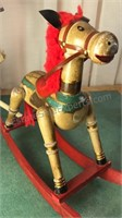 Collection of Vintage Wooden Horses Lamp Untested