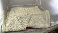 """2 Matching Vintage Lace Table Runners 64x9"""" and"""