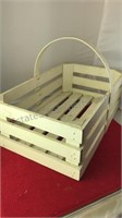 """Wooden Basket With Handle 11x18x13"""" and 5"""