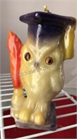 """3 Vintage Owl Candles 7-6-5"""" Tall"""
