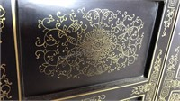 Vintage 4 Hinged Panel Asian Design Wood Screen