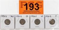 Coin 4 Buffalo Nickels  1931-S Nice Coins