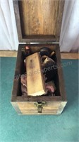 Vintage Wooden Shoe Shine Box With Contents