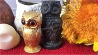 Collection of Small Owl Figures and Brass Owl
