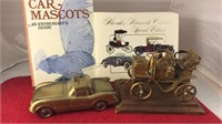 Vintage Auto Books Brass Bank and Sculpture