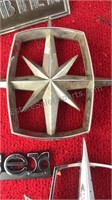 Collection of Vintage Hood Ornaments Auto Badges