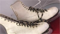 Pair of Vintage Ice Skates Vinyl Uppers  10""