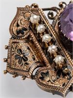 Jewelry 10kt Yellow Gold Amethyst Brooch