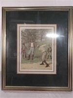 Framed picture golfers golfing by a b Prost 23 by