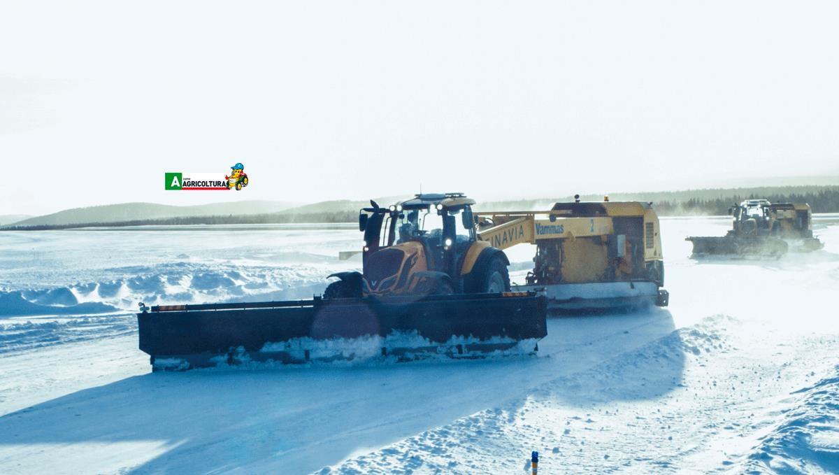 trattori valtra equipaggiati con pneumatici Nokian Tyres puliscono la pista dell