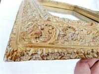 Heavy Antique Beveled Gilt Gesso Framed Mirror
