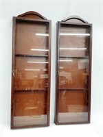 Pair MCM Asian Style Wall Wood Display Cabinets