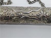 Large Antique Tibetan Prayer Silver Scroll Holder
