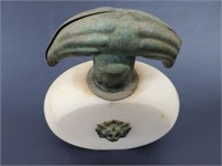 Old Italian Alabaster Bronze Lion Head Perfume