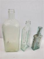 [3] Antique Embossed Medicine & Liquor Bottles