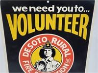 Vtg Desoto Rural Fire Protection Vol. Advert Sign