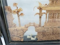 Exquisit  5 Panel Chinese Carved Cork Art Display