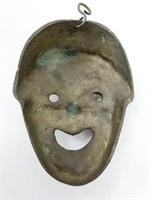 Antique Cast Brass Chinese Tragedy Wall Mask