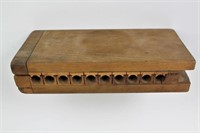 Antique Handmade Wooden 10 Slot Cigar Mold