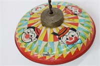 Vintage Chein Tin Litho Toy Clown Spinning Top
