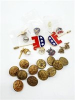 Old US Military Buttons, Sterling & Political Lot