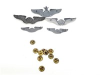 Group of 5 WW2 USAAF Pilot's Wing Insignia Pins