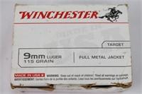 9mm Luger 115Gr FMJ Target Winchester Ammo
