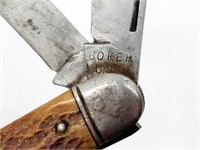 Vintage Boker 3-Blade Bone Handle Pocket Knife