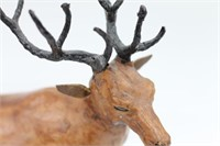 Large Antique Folk Art Leather Deer Figure