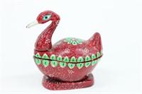 New Handmade Painted Duck Chopra Lidded Box