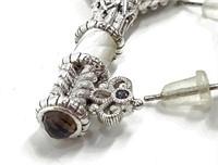 Judith Ripka Jeweled .925 Key Pendant & Earrings