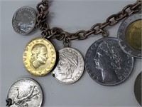 [2] Vintage Real Foreign Coins Charm Bracelets