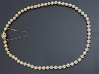 Vintage Costume Pearl Necklace & Asian Silk Box