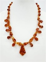 Grade A+ Rare Natural Amber Art Deco Bead Necklace