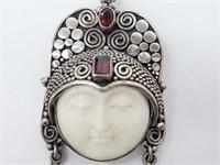 Lrg Sajen Designer 925 Gemstone Goddess Pendant