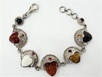 Amber Tigers Eye Goddess Sajen Sterling Bracelet