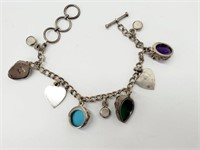 Designer Sterling  Multi-Gem Goddess Face Bracelet