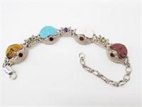 Beautiful .925 Lrg Multi-Gem Goddess Link Bracelet