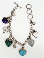 Designer Sterling  Multi-Gem Goddess Face Bracelet