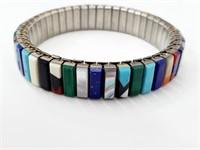 Rare Zuni Indian Inlay Gemstone Stretch Bracelet