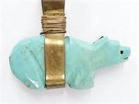 Large Navajo Turquoise Onyx Fetish Bear Pendant