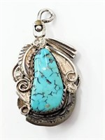 Old Navajo Coral Turquoise .925 Reverse Pendant