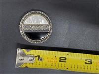 Art Deco .925 Onyx Marcasite MoP Flapper Brooch