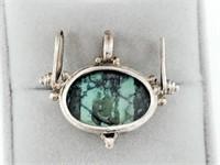 Mid Century Mod .925 Turquoise Pendant Slider