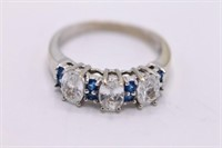 Beautiful 14K White & Blue Sapphire Ring