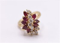 Vintage 10K Natural Diamond And Ruby Ring