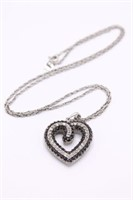 .925 Sterling Silver Diamond Heart Necklace