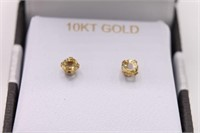 Pair of 14K Gold & Yellow Topaz Solitaire Earrings